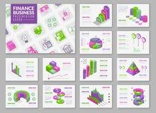 Isometriska infographic presentationskort stock illustrationer