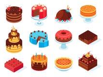 Isometriska kakor Skivan för chokladkakan, den läckra skivade födelsedagpajen och den smakliga rosa glasyrkakan isolerade uppsätt royaltyfri illustrationer