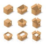 Isometriska kartonger Arkivbilder