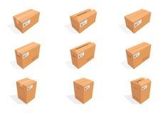 Isometriska kartonger för vektor Boxas papp, boxas packen, boxas att förpacka, boxas symbolen, den ask isolerade illustrationen Royaltyfri Bild