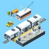 Isometriska kollektivtrafikstationer Buss och drev Stadsväg och stänger Vektorillustrationisolat på vit vektor illustrationer