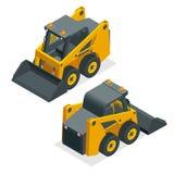 Isometriska kompakta grävskopor Orange hjulrådladdare som isoleras på en vit bakgrund royaltyfri illustrationer