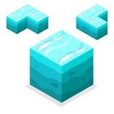 Isometriska kuber för sömlöst modigt kvarter, oupphörligt vatten för natur, hav Royaltyfri Bild