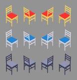 Isometriska kulöra stolar royaltyfria foton