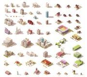 Isometriska låga poly byggnader och hus för vektor vektor illustrationer