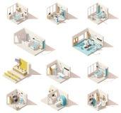 Isometriska låga poly sjukhusrum för vektor stock illustrationer