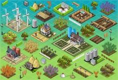 Isometriska lantgårduppsättningtegelplattor Royaltyfria Bilder