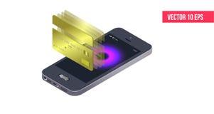 Isometriska mobiltelefon- och internetbankrörelsen skydd som shoppar trådlös lön till och med den isometriska smartphonen royaltyfri illustrationer
