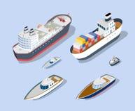 Isometriska modeller av skepp vektor illustrationer