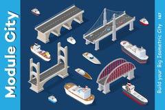 Isometriska modeller av skepp stock illustrationer