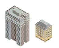 Isometriska moderna byggnader Arkivbilder