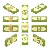Isometriska packar av pappers- pengar Arkivbilder