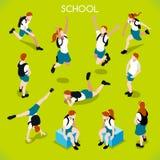 Isometriska personer för studentuppsättning 01 Arkivbild