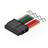Isometriska 24 Pin Connector Vector Illustration Royaltyfri Bild