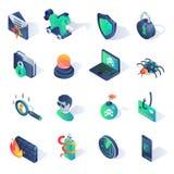 Isometriska plana symboler för Cybersäkerhet också vektor för coreldrawillustration Arkivfoton