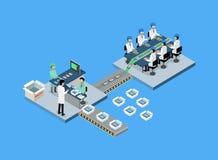 Isometriska produktionminnestavla eller Smartphone 3d Arkivfoton