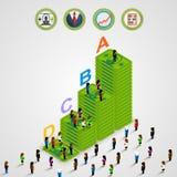 Isometriska pyramidpengar med folk Arkivfoto