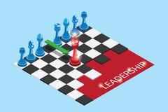 Isometriska röda och blåa schackstycken på schackbrädet med ord, ledarskap och affärsidé royaltyfri illustrationer