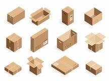 Isometriska realistiska pappleveransaskar Öppnad stängd logistisk ask som isoleras på den vita bakgrunden stock illustrationer