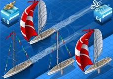 Isometriska Sailships i navigering stock illustrationer