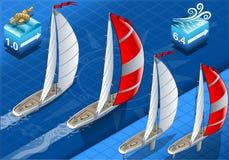 Isometriska Sailships i navigering royaltyfri illustrationer