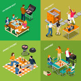 Isometriska sammansättningar för BBQ stock illustrationer