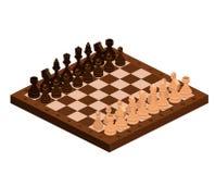 Isometriska schackstycken med brädet Royaltyfri Foto