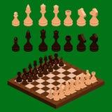 Isometriska schackstycken med brädet Royaltyfri Fotografi