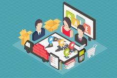 Isometriska shoppingsymboler för internet 3d stock illustrationer