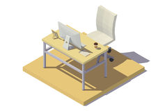 Isometriska signaler för kontorsarbetsplatsbeiga Fotografering för Bildbyråer