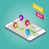 Isometriska Smartphone med stadsöversikten Modern infographic mall Arkivbild
