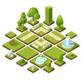 Isometriska stads- beståndsdelar och trädgårds- garnering Bänkar, springbrunnträd och buskar göra sammandrag för knappfärger för  vektor illustrationer