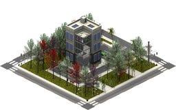 Isometriska stadsbyggnader, lyxiga lägenheter framförande 3d Royaltyfria Bilder