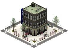 Isometriska stadsbyggnader, lyxigt hotell framförande 3d stock illustrationer