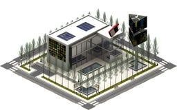 Isometriska stadsbyggnader, tvfilmföretag framförande 3d Arkivfoton