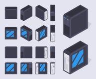 Isometriska svarta PCfall Royaltyfri Bild