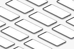 Isometriska svarta realistiska smartphones med tomt vitt skärmraster Tom mall för skärmtelefon för att sätta in UI royaltyfri illustrationer
