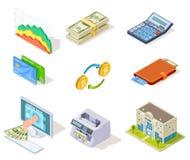 Isometriska symboler för bank Internetbankrörelsen, pengar och checkhäfte, lån och kontant valuta, kreditkortaffärsfinans vektor illustrationer