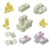 Isometriska symboler för euro- och dollarvaluta vektor illustrationer