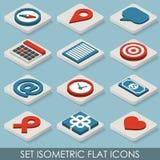 Isometriska symboler för plan uppsättning Arkivbilder
