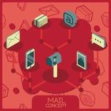 Isometriska symboler för postfärgbegrepp Arkivbilder