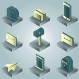 Isometriska symboler för postfärglutning Arkivbilder