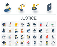 Isometriska symboler för rättvisa och för lag vektor 3d vektor illustrationer