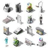 Isometriska symboler för Robotized hotell stock illustrationer