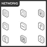 Isometriska symboler för social nätverksöversikt Arkivbild