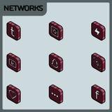 Isometriska symboler för social nätverksfärgöversikt Arkivbilder