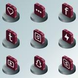 Isometriska symboler för social nätverksfärg Royaltyfria Bilder
