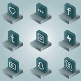 Isometriska symboler för social nätverksfärglutning Royaltyfri Fotografi
