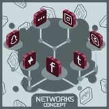 Isometriska symboler för socialt nätverksbegrepp Arkivfoto