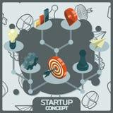 Isometriska symboler för Startup färgbegrepp Arkivbild
